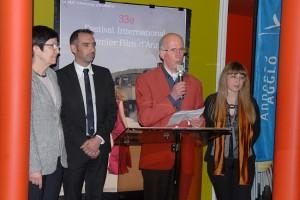 Vendredi 5 février, inauguration officielle du 33ème Festival : au micro, Gabriel Trombert, président de la MJC