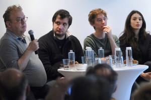 Dimanche 7 février, rencontre au Domaine de St-Clair, de gauche à droite : Dominique Besnehard, Karim Leklou, Swann Arlaud, Doria Achour