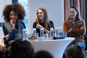 Dimanche 7 février, rencontre au Domaine de St-Clair, de gauche à droite : Stéfi Celma, Fanny Sidney, Adélaïde Leroux