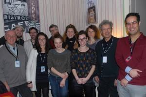 Les 7 membres du Jury, ainsi que Solène Rigot, Baya Kasmi, Michel Leclerc, et Rémi, assistant sur le festival en charge de la coordination des jurys