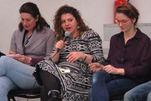 Dimanche 14 février, rencontre à la MJC, de gauche à droite : Florence (traduction), Diala Al Rai (THEEB), Lisa Carlehed (IN YOUR ARMS)