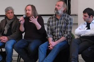 Dimanche 14 février, rencontre à la MJC, de gauche à droite : Iraj Shahzadi (MELBOURNE), Xavier Seron (JE ME TUE À LE DIRE), Sam Louwyck (KEEPER), Joseba Usabiag (PIKADERO)