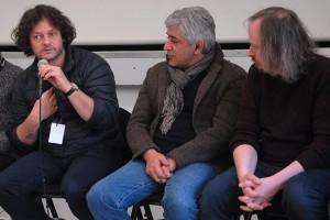 Dimanche 14 février, rencontre à la MJC, de gauche à droite : Gilles Porte (3000 NUITS), Iraj Shahzadi (MELBOURNE), Xavier Seron (JE ME TUE À LE DIRE)