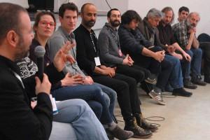 Dimanche 14 février, rencontre à la MJC, de gauche à droite : Gaël Labanti, Lisa Carlehed (IN YOUR ARMS), Andrew Cividino (SLEEPING GIANT), Nitzan Gilady (WEDDING DOLL), Julien (traduction), Gilles Porte (3000 NUITS), Iraj Shahzadi (MELBOURNE), Xavier Seron (JE ME TUE À LE DIRE), Sam Louwyck (KEEPER), Joseba Usabiag (PIKADERO)