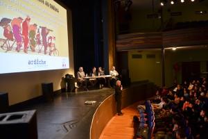 Masterclass autour du cinéma d'animation, introduction de la séance par Dominique Hoff de la Fondation Gan pour le Cinéma