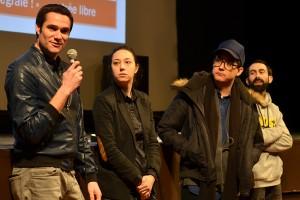 De gauche à droite : Sébastien Aubert, Lauren Wolkstein, Christopher Radcliff pour THE STRANGE ONES, et Julien pour la traduction