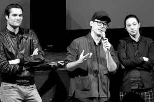 De gauche à droite : Sébastien Aubert, Christopher Radcliff, Lauren Wolkstein pour THE STRANGE ONES