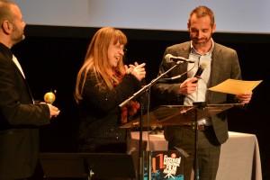 Pour la remise du prix du public, Gael Labanti, Marianne Ferrand, Simon Plénet président d'Annonay Rhône Agglo