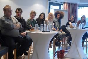 """Dimanche 7 février, rencontre au Domaine de St-Clair avec les invités """"Nouveaux Talents"""", de gauche à droite : Dominique Besnehard, Karim Leklou, Swann Arlaud , Doria Achour, Maud Baecker, Stéfi Celma, Fanny Sidney et Adélaïde Leroux"""