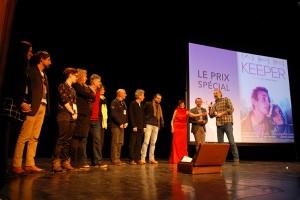 Dimanche 14 février, cérémonie de remise des prix au Théâtre : le prix spécial du jury est remis par Olivier Dussopt, Député de l'Ardèche et Maire de la ville d'Annonay, à Sam Louwyck, comédien représentant le film de Guillaume Senez, KEEPER (Belgique / Suisse / France)