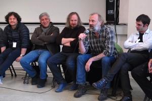 Dimanche 14 février, rencontre à la MJC, de gauche à droite : Gilles Porte (3000 NUITS), Iraj Shahzadi (MELBOURNE), Xavier Seron (JE ME TUE À LE DIRE), Sam Louwyck (KEEPER), Joseba Usabiag (PIKADERO)