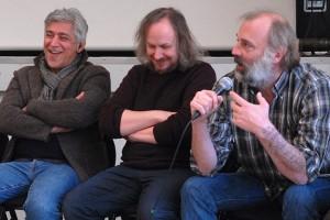 Dimanche 14 février, rencontre à la MJC, de gauche à droite : Iraj Shahzadi (MELBOURNE), Xavier Seron (JE ME TUE À LE DIRE), Sam Louwyck (KEEPER)