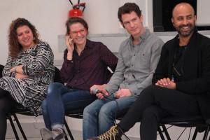 Dimanche 14 février, rencontre à la MJC, de gauche à droite : Diala Al Rai (THEEB), Lisa Carlehed (IN YOUR ARMS), Andrew Cividino (SLEEPING GIANT), Nitzan Gilady (WEDDING DOLL)
