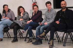 Dimanche 14 février, rencontre à la MJC, de gauche à droite : Florence (traduction), Diala Al Rai (THEEB), Lisa Carlehed (IN YOUR ARMS), Andrew Cividino (SLEEPING GIANT), Nitzan Gilady (WEDDING DOLL)
